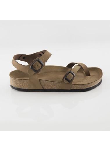 Ballerins Hakiki Deri Sandalet Camel
